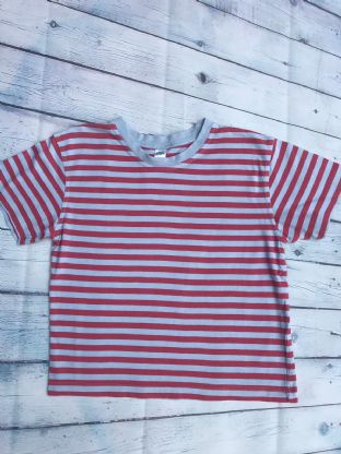 Mini Boden red and blue striped tshirt age 7-8
